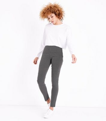 Tall Black Geometric Print Stretch Trousers