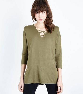 Khaki Lattice Front Tunic Top