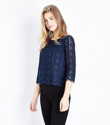 Navy Scallop Hem Lace Top
