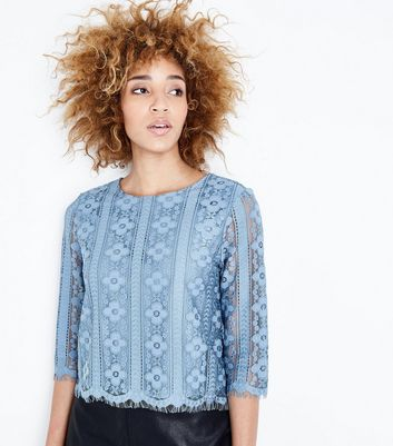 Bright Blue Scallop Hem Lace Top