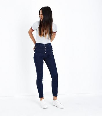 Petite Blue Button Front High Waist Skinny Jeans