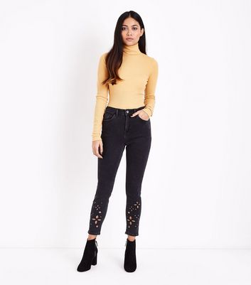 Petite Black Floral Cut Out Skinny Jeans