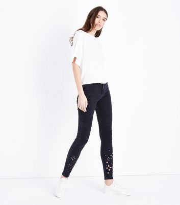 Tall Black Cut Out Hem Skinny Jeans