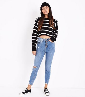 Petite Blue 4 Button Ripped Skinny Jeans