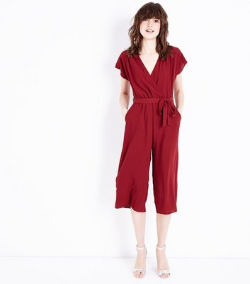 Dark Red Wrap Front Culotte Jumpsuit