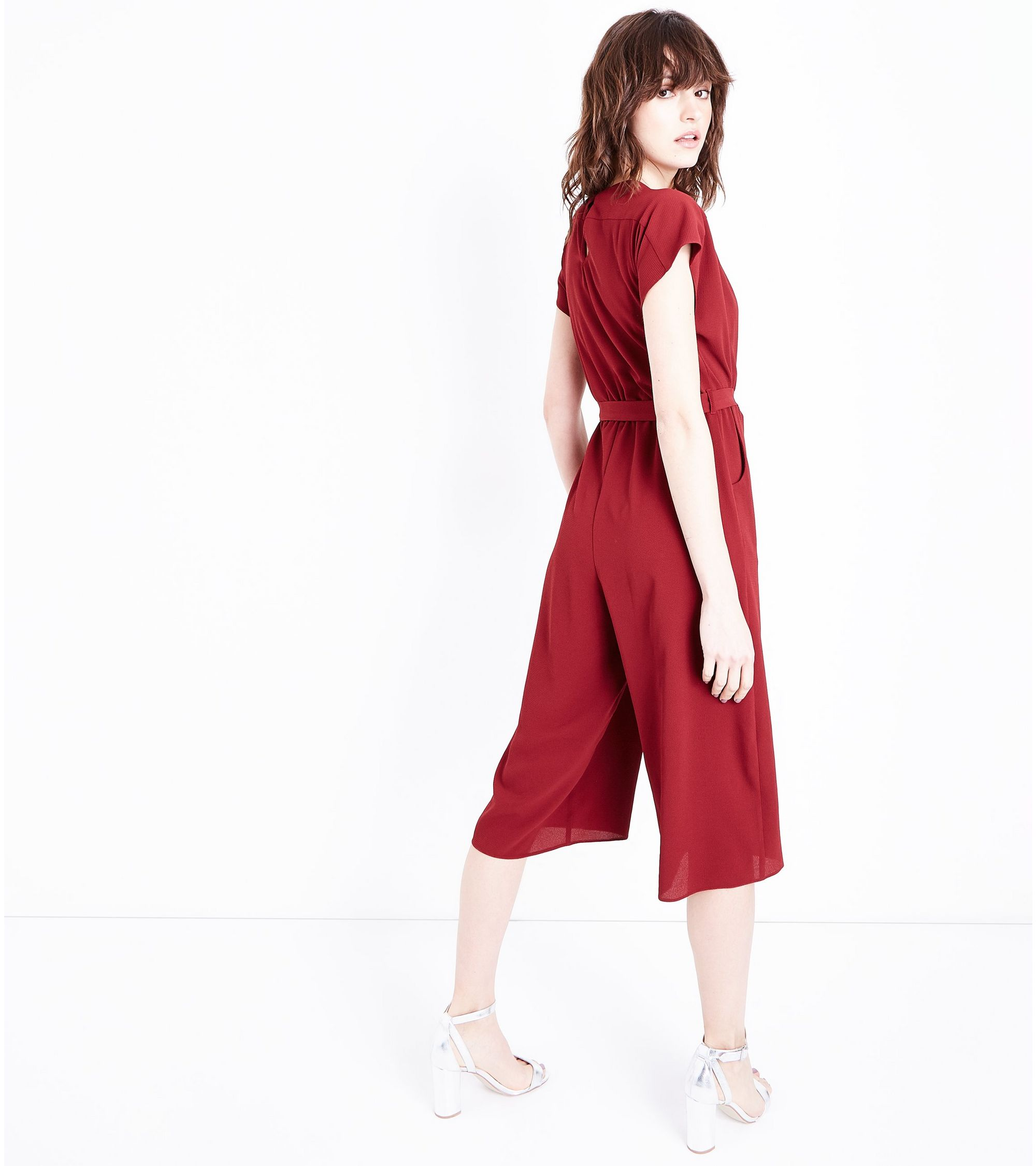 b0b92724ac67 New Look Dark Red Wrap Front Culotte Jumpsuit at £22.99