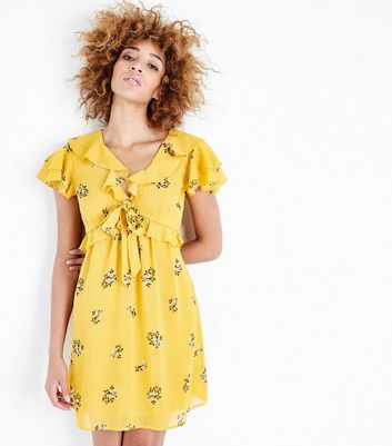 Yellow Floral Chiffon Frill Trim Tea Dress