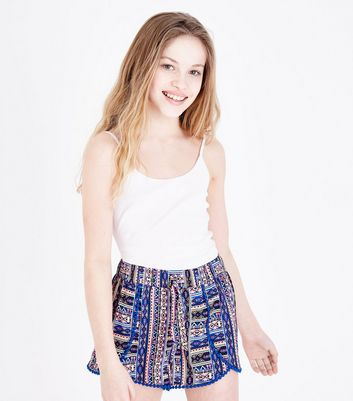 Girls Blue Aztec Print Beach Shorts