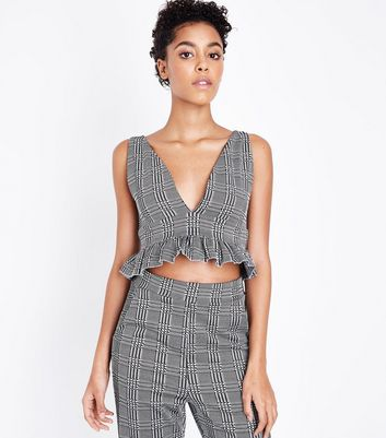 Cameo Rose Grey Check Frill Hem Crop Top