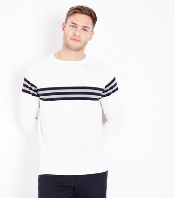 Cream Stripe Front Crew Neck Jumper
