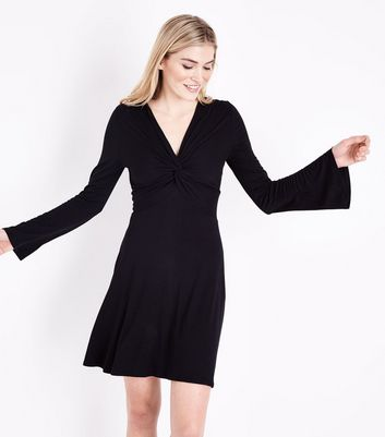Black Twist Front Flared Sleeve Jersey Dress