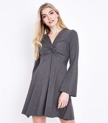 Grey Twist Front Flared Sleeve Jersey Dress
