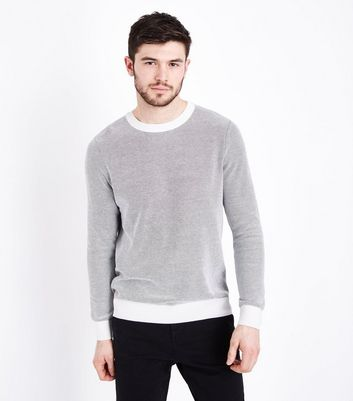 Teal Ribbed Jumper; Cream Textured Contrast Crew Neck Jumper