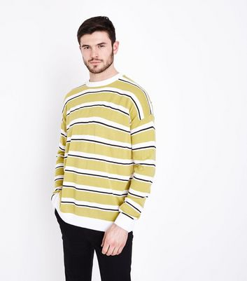 Yellow Stripe Crew Neck Jumper