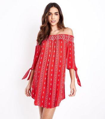 Red Aztec Print Shirred Bardot Neck Beach Dress