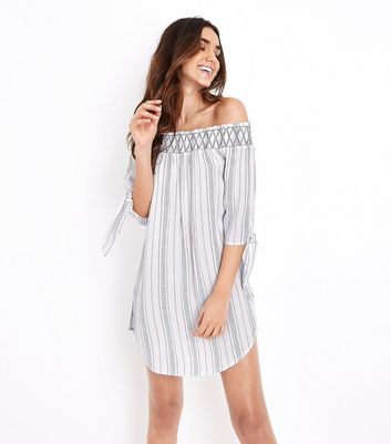 White Stripe Shirred Bardot Neck Beach Dress