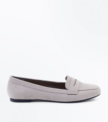 Girls Grey Suedette Penny Loafers