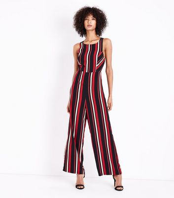 Black Stripe Cross Back Jumpsuit