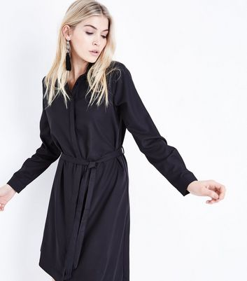 Black Asymmetric Hem Shirt Dress