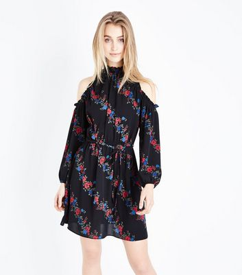 Black Diagonal Floral High Neck Cold Shoulder Dress