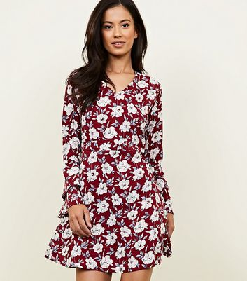 Dark Red Floral Bell Sleeve Skater Dress