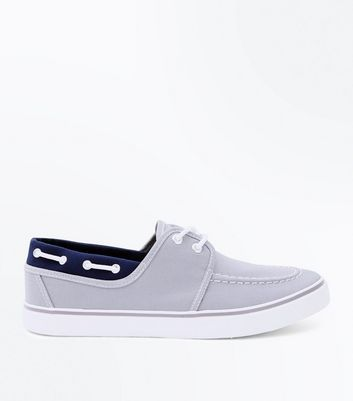 Grey Lace Up Canvas Boat Shoes