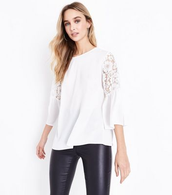 Off White Lace Flutter Sleeve Top
