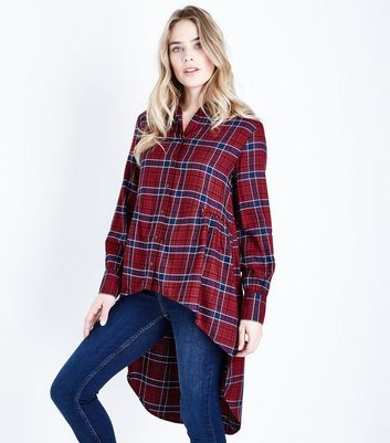 Red Check Dip Hem Longline Shirt