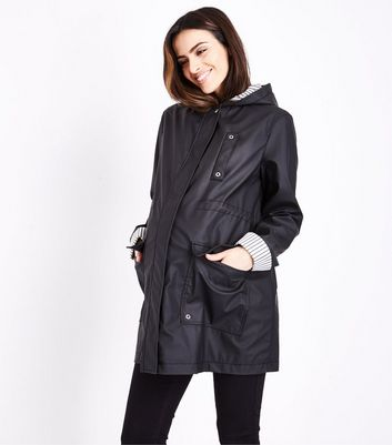Maternity Black Stripe Lined Anorak