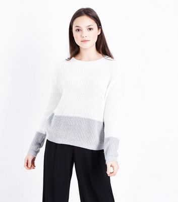 Teens Off White Colour Contrast Jumper
