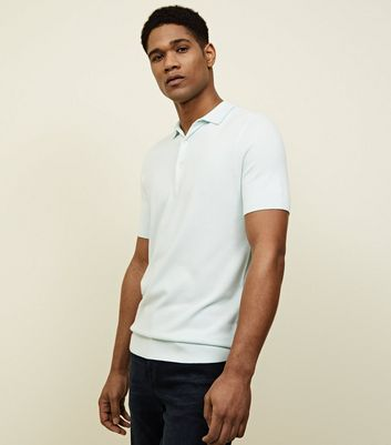 Mint Green Knitted Slim Fit Polo Shirt