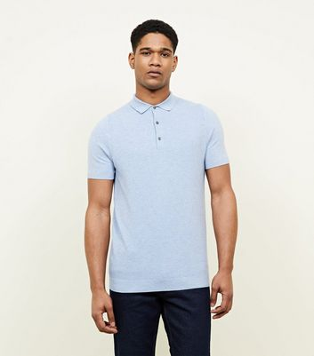 Pale Blue Knitted Slim Fit Polo T-Shirt