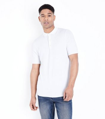 White Knitted Muscle Fit Polo Shirt