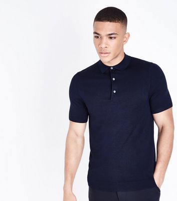 Navy Knitted Muscle Fit Polo T-Shirt