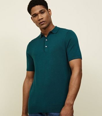 Teal Knitted Muscle Fit Polo Shirt