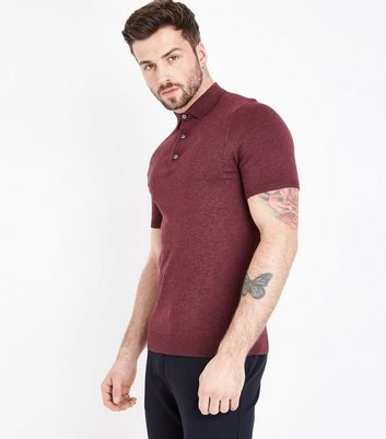 Burgundy Knitted Muscle Fit Polo Shirt