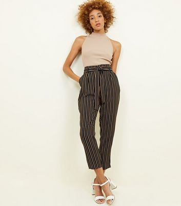 Black and Mustard Stripe Tie Waist Trousers