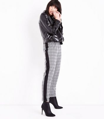 Black Prince of Wales Check Side Stripe Trousers