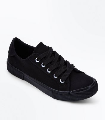Girls Black Canvas Lace Up Trainers