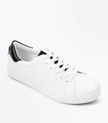 Teens White Contrast Trim Trainers