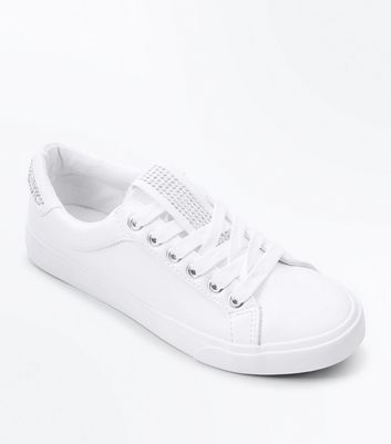 Teens White Diamante Embellished Trainers