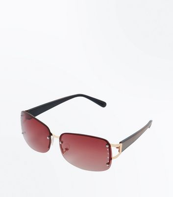 Dark Brown Diamanté Rimless Sunglasses