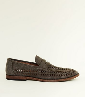 Dark Grey Woven Loafers