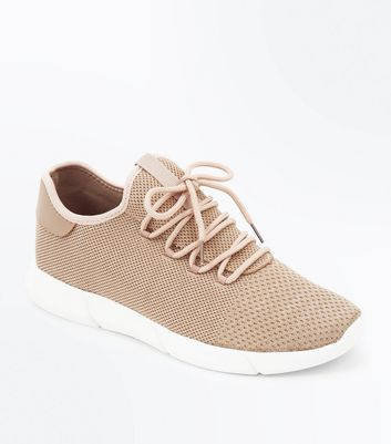 Stone Knitted Runner Trainers