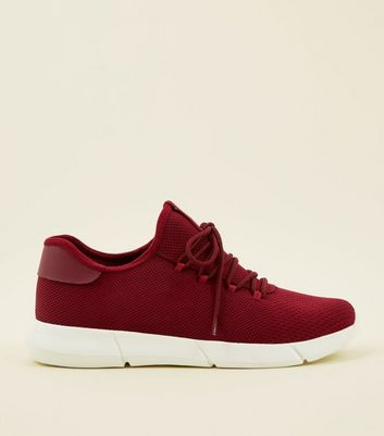 Burgundy Knitted Runner Trainers