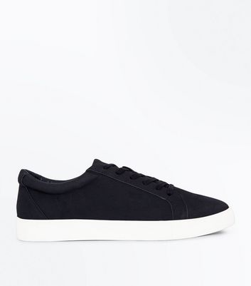 Black Faux Suede Lace Up Trainers