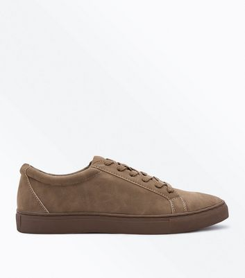 Stone Faux Suede Lace Up Trainers
