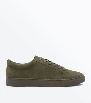 Khaki Faux Suede Lace Up Trainers