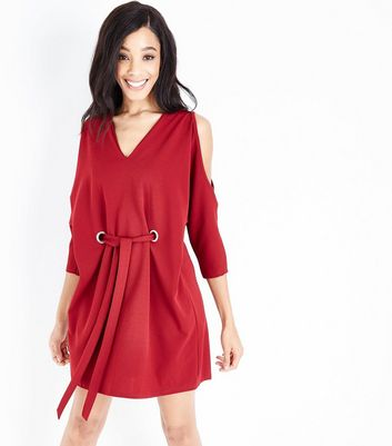 Cameo Rose Burgundy Eyelet Cold Shoulder Tunic Dress
