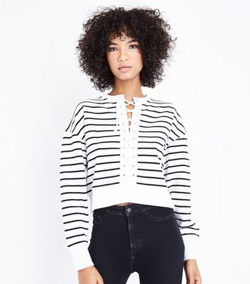 White Stripe Lace Up Front Sweatshirt